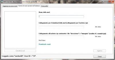 Interfaccia di gestione dei mod.