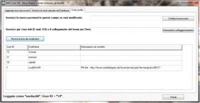 Interfaccia di gestione del profilo.