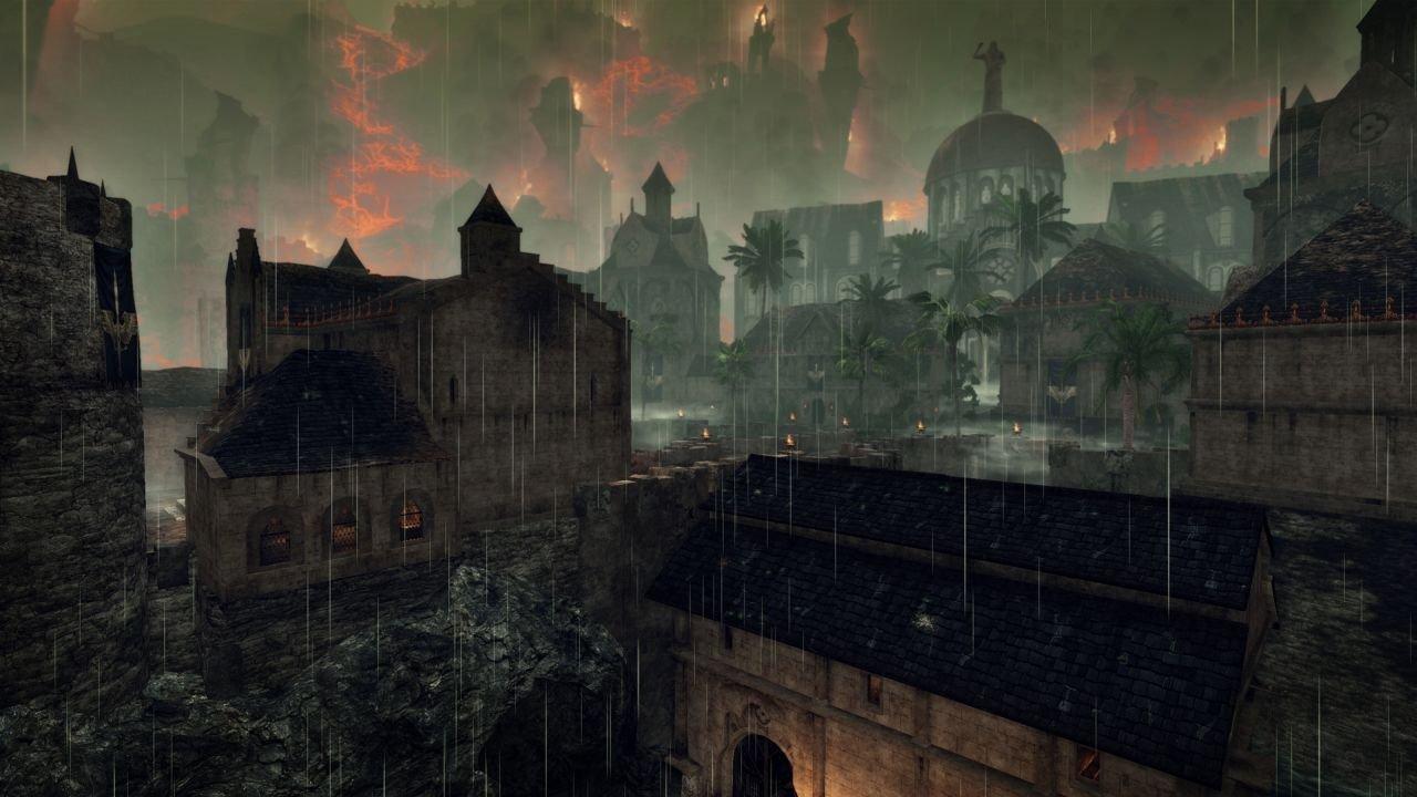 Caldera di fronte ad uno sfondo apocalittico. Già graficamente ci sembra chiaro che il mondo di Risen non è in una bella situazione.