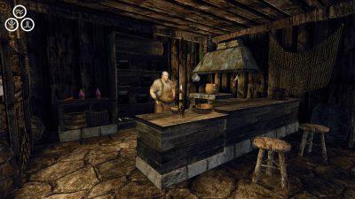 Flint al bancone nella sua taverna