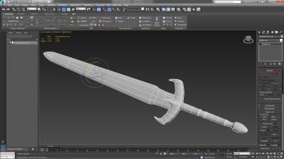 Mesh di una spada in 3ds Max, con un basso livello di poligoni