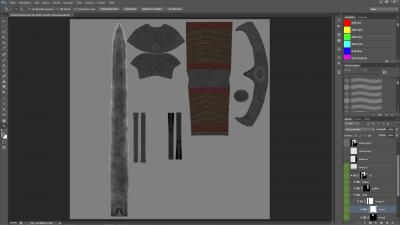 Le texture applicate su una spada
