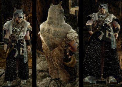 Tunica da druido con pelliccia di lupo