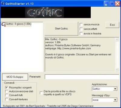 Avvio della compilazione tramite il programma Gothic Starter