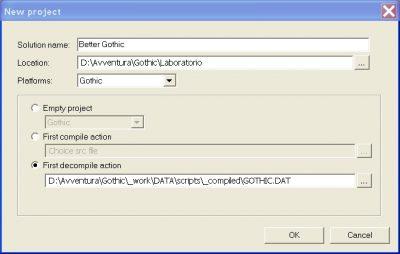 Impostazioni di decompilazione per il programma Gothic Sourcer