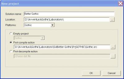 Impostazioni di compilazione per il programma Gothic Sourcer